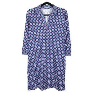 J. McLaughlin Blue Pink Catalina Cloth Dress L